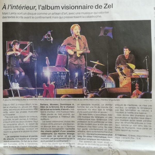 Zel - Article à l'intérieur - Ouest France 181120 - Journal